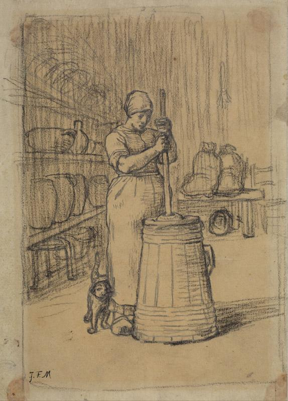 Jean-Francois Millet - Study for Woman Churning Butter