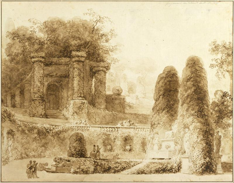Jean-Honore Fragonard (1732-1806)-Roman Park with Fountain, 177