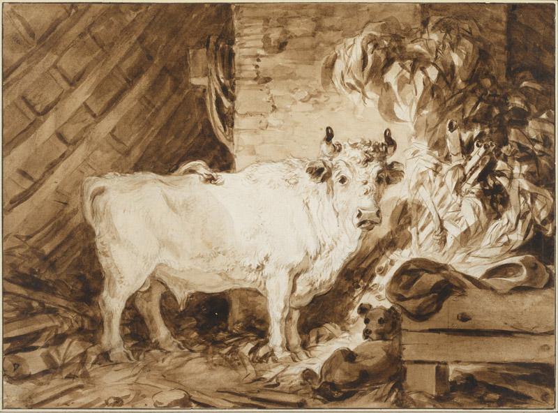 Jean-Honore Fragonard (1732-1806)-White Bull and a Dog in a Sta