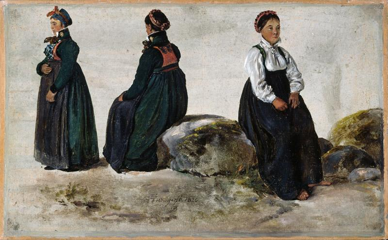 Johan Christian Dahl - Studies of Female Costumes from Luster in Sogn