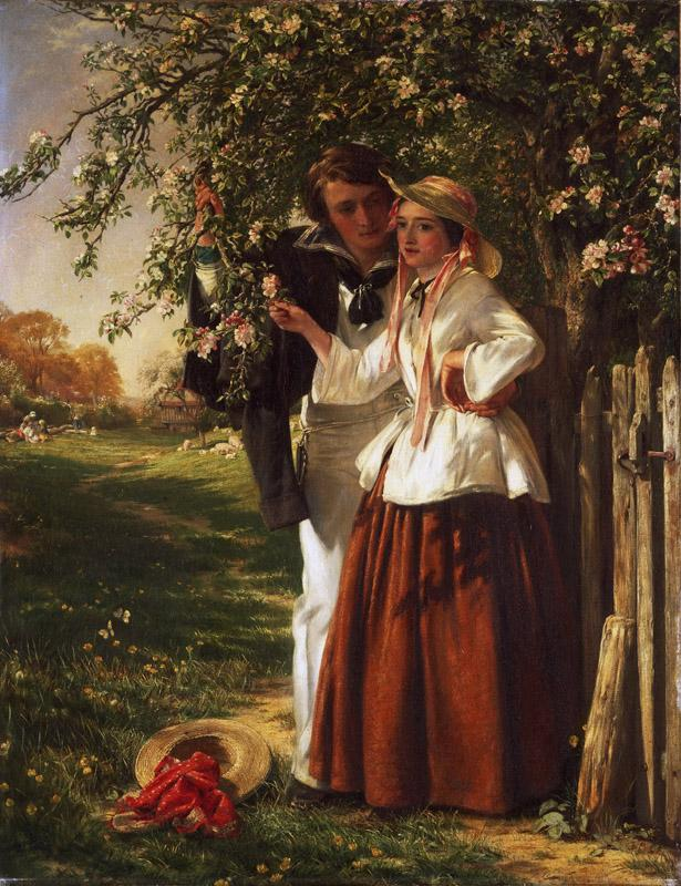 John Callcott Horsley, English, 1817-1903 -- Lovers under a Blossom Tree