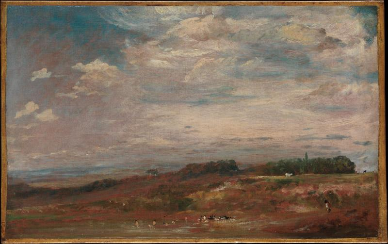 John Constable--Hampstead Heath with Bathers