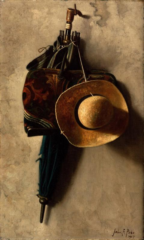 John Frederick Peto, American, 1854-1907 -- Still Life with a Hat, an Umbrella, and a Bag