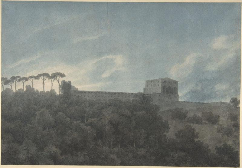 John Robert Cozens--View of the Villa Lante on the Janiculum in Rome