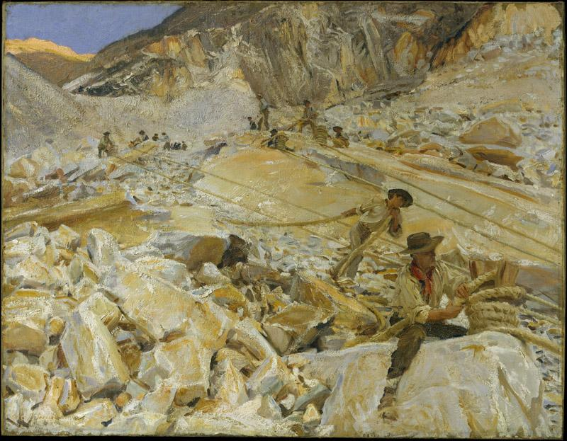 John Singer Sargent--Bringing Down Marble from the Quarries to Carrara