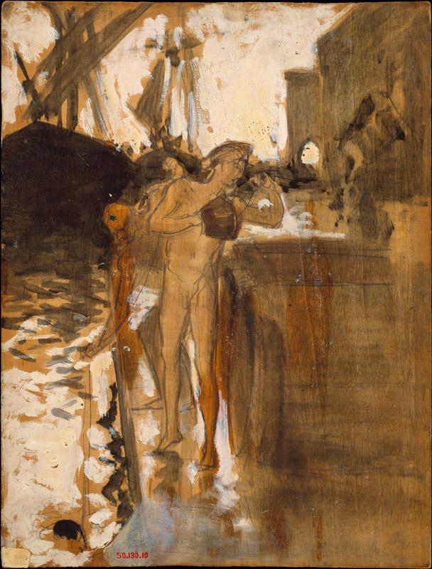 John Singer Sargent--The Balcony, Spain and Two Nude Bathers Standing on a Wharf