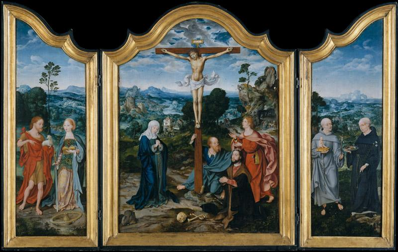 Joos van Cleve and a collaborator--The Crucifixion with Saints and a Donor