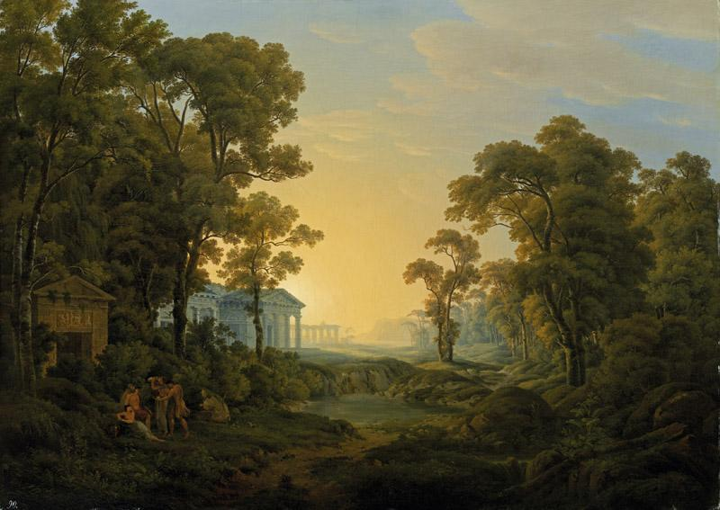 Joseph Rebell - Wooded Landscape with Temple, 1809