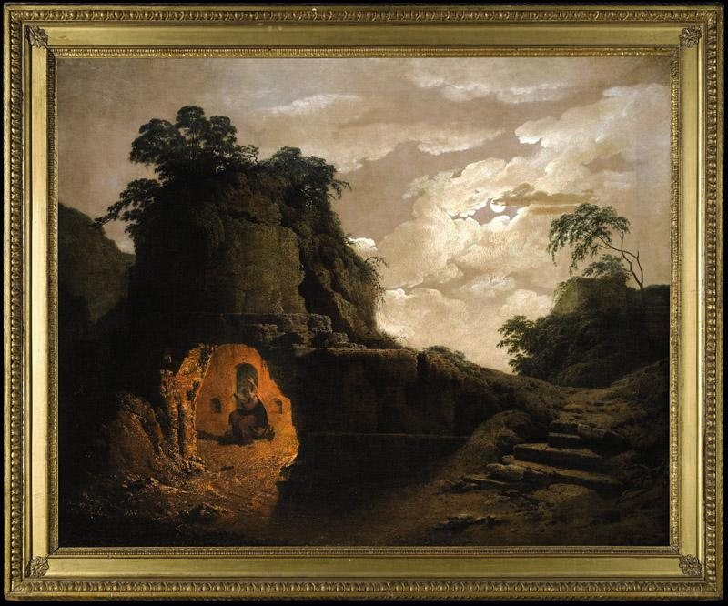 Joseph Wright--Virgil Tomb by Moonlight, with Silius Italicus Declaiming