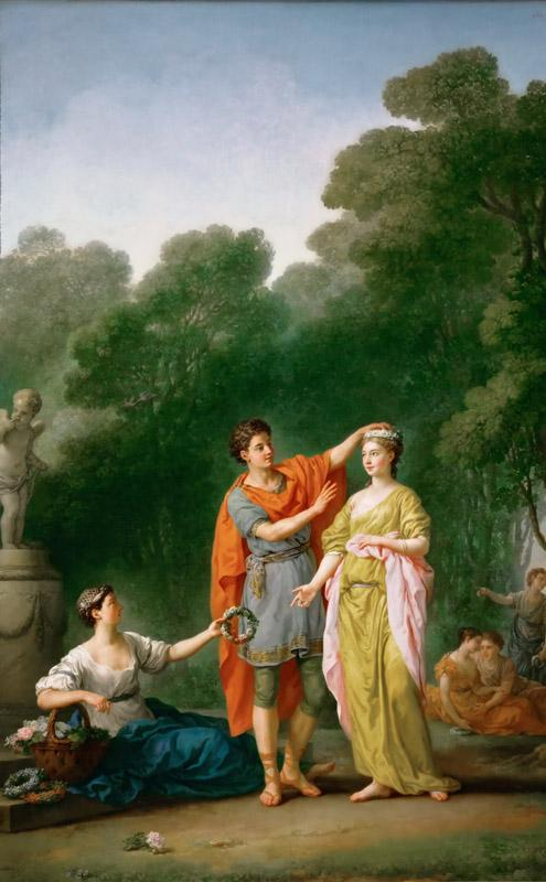 Joseph-Marie Vien -- A lover crowning his beloved
