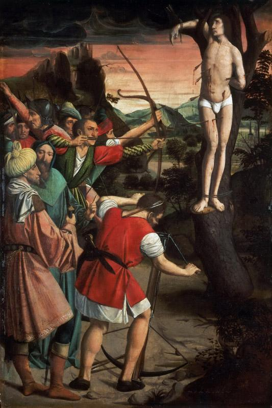 Josse Lieferinxe, French, documented 1493-1505-8 -- Saint Sebastian Pierced with Arrows