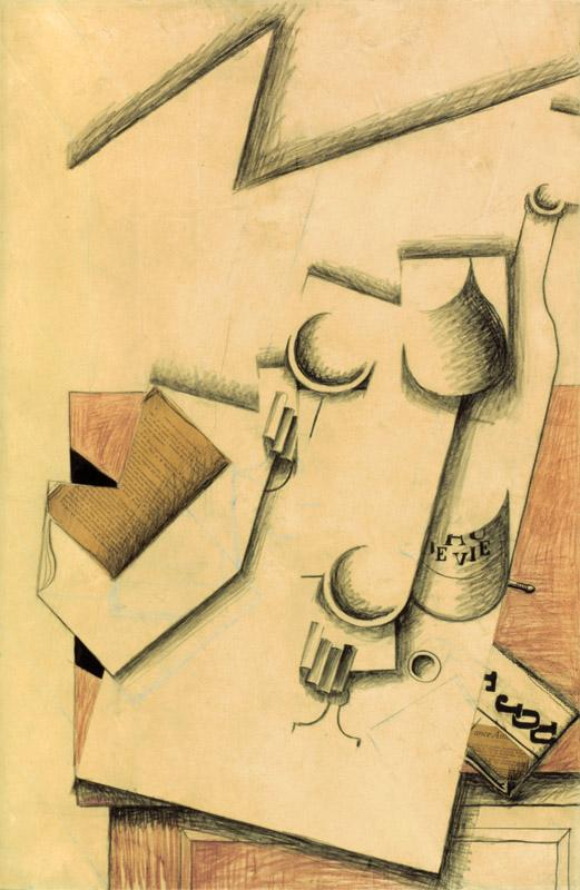 Juan Gris - Book, Glass and Bottle on a Table, 1913