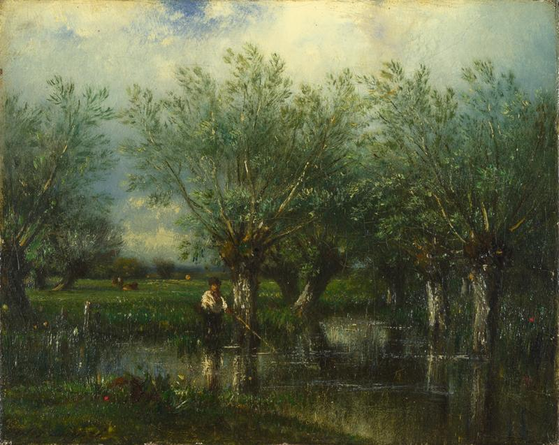 Jules-Louis Dupre - Willows, with a Man Fishing