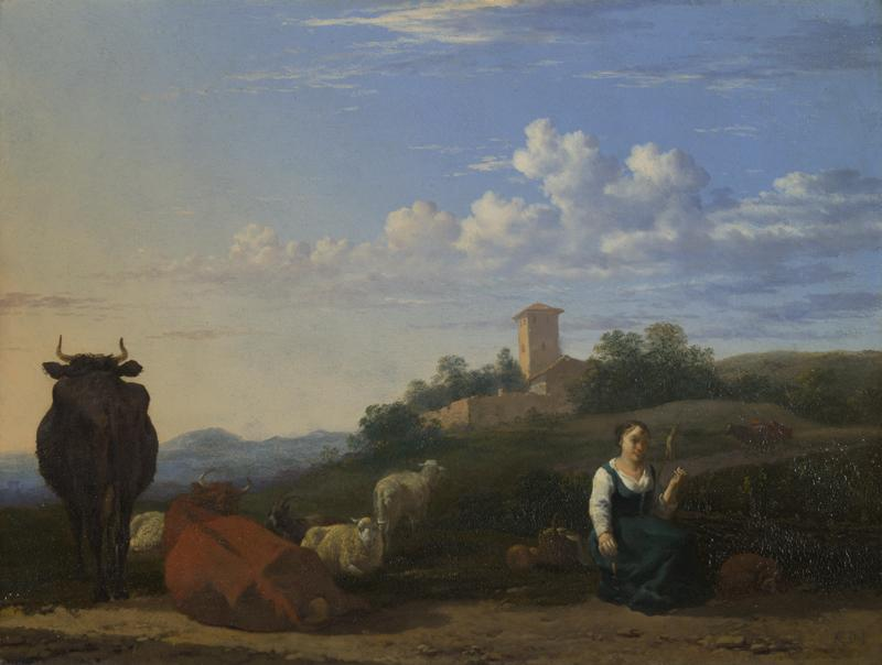 Karel Dujardin - A Woman with Cattle and Sheep in an Italian Landscape