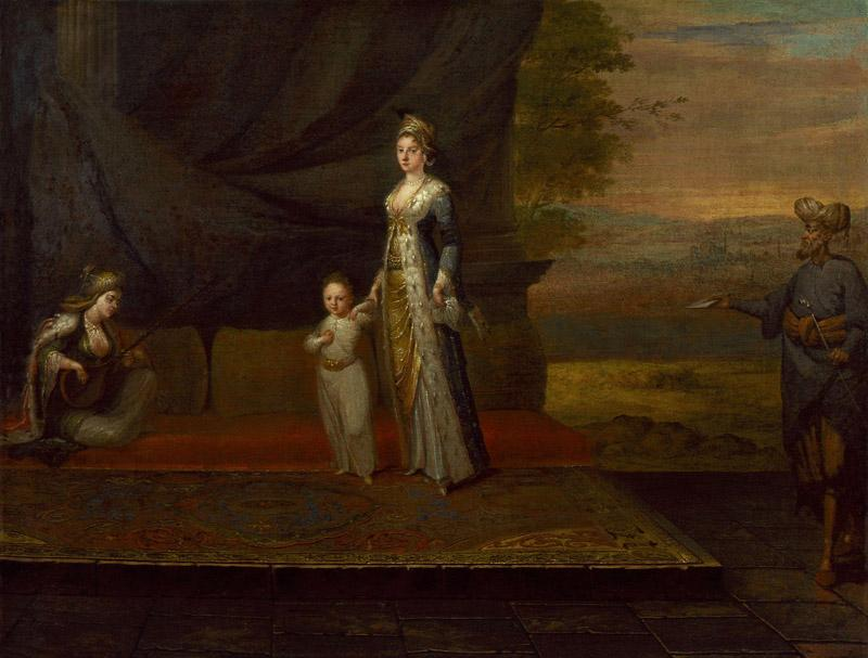 Lady Mary Wortley Montagu with her son, Edward Wortley Montagu, and attendants by Jean Baptiste Vanmour