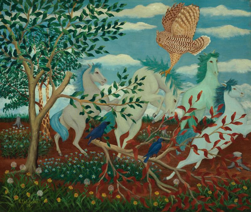 Lawrence H. Lebduska - Wild Horses and Owl, 1938
