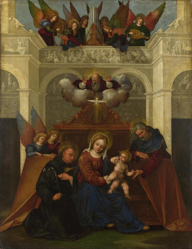 Lodovico Mazzolino - The Holy Family with Saint Nicholas of Tolentino