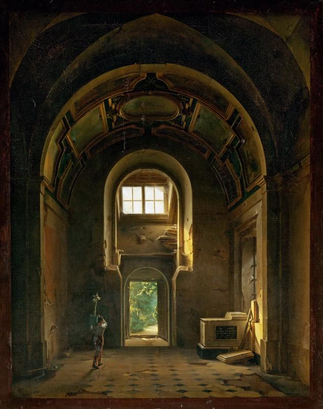 Louis-Jacques-Mande Daguerre -- Interior of a Chapel in the Church of the Feuillants in Paris