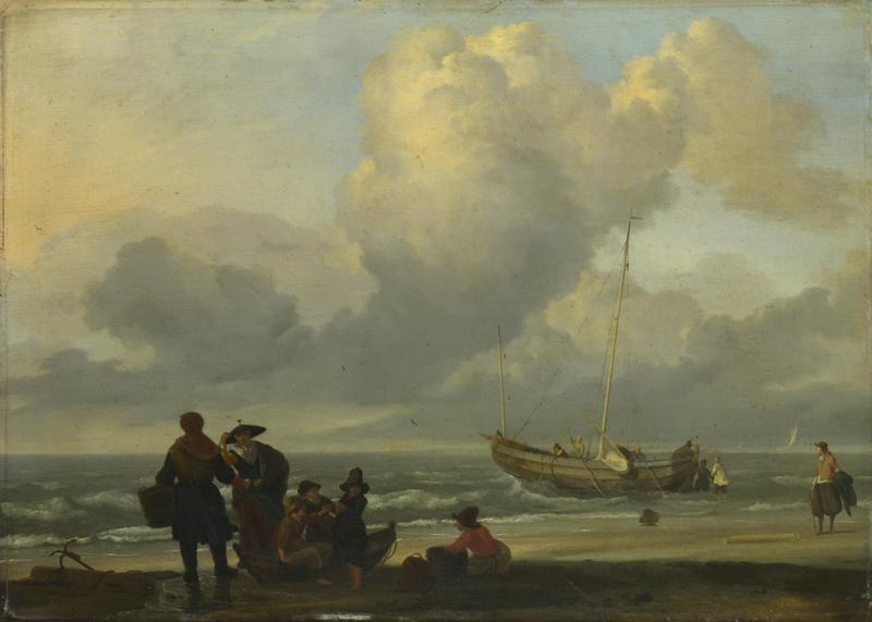 Ludolf Bakhuizen - A Beach Scene with Fishermen