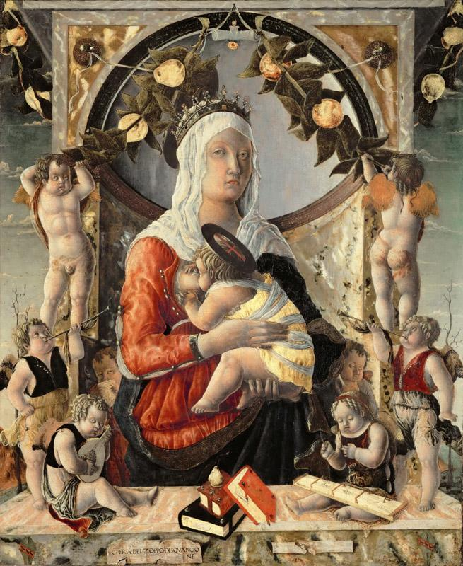Marco Zoppo -- Madonna and Child surrounded by eight angels