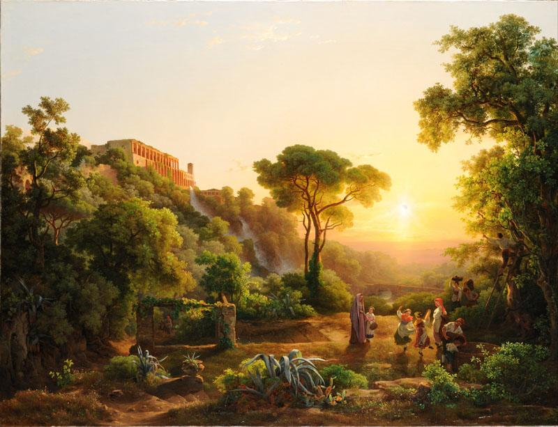 Marko, Karoly (1793 - 1860) (Hungarian)-Landscape at Tivoli, with a Scene from the Grape Harvest
