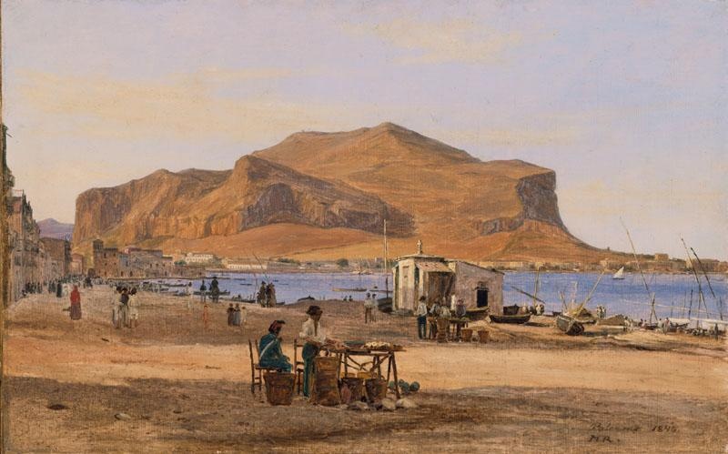 Martinus Rorbye - Palermo Harbor with a View of Monte Pellegrino