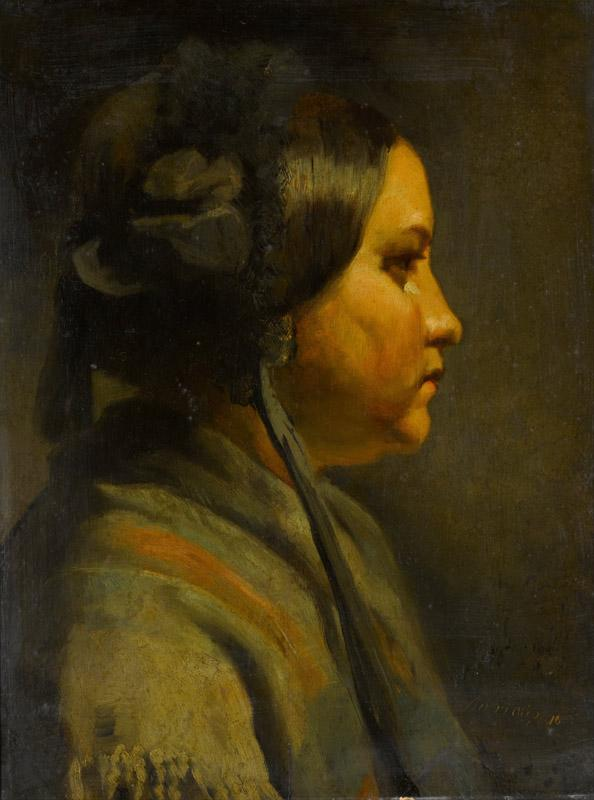Matthijs Maris - Study of the head of a young woman in profile