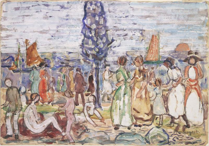 Maurice Prendergast (1861-1924)-Beach with Blue Tree