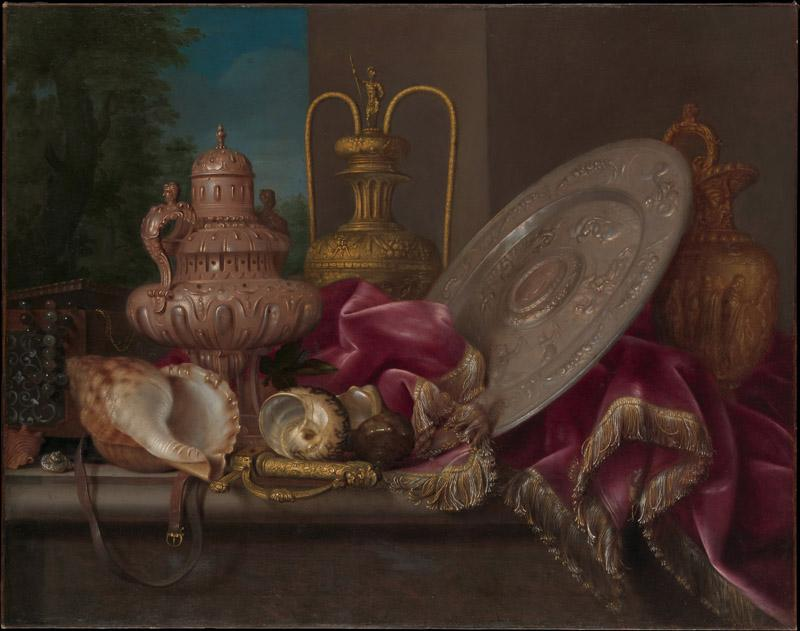 Meiffren Conte--Still Life with Silver and Gold Plate, Shells, and a Sword