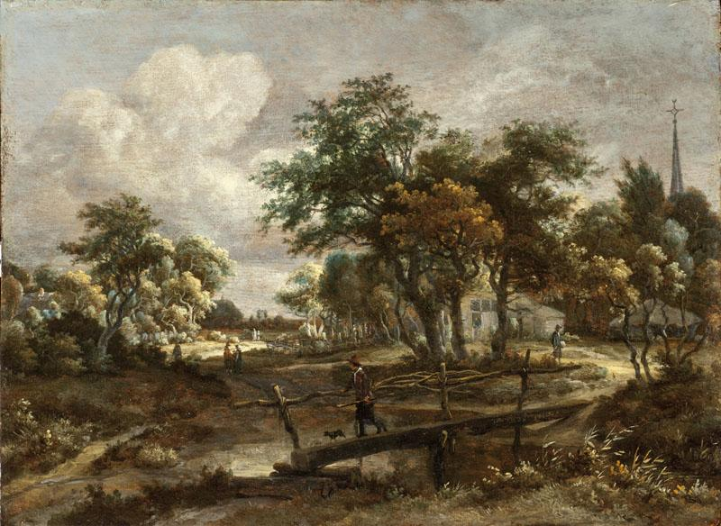 Meindert Hobbema - Landscape with a Footbridge