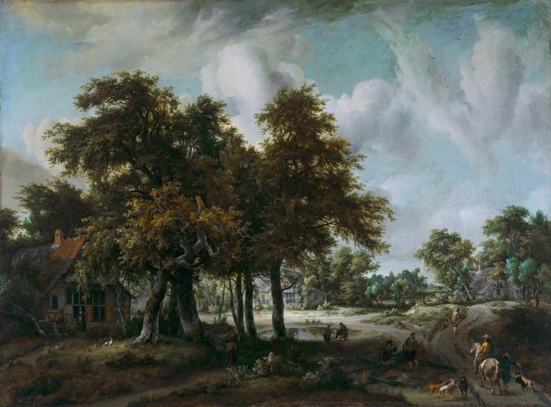 Meindert Hobbema - Wooded Landscape with Cottages