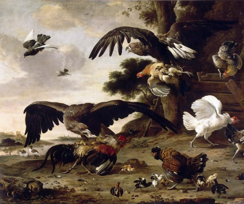 Melchior de Hondecoeter -- Eagles Attacking Chickens