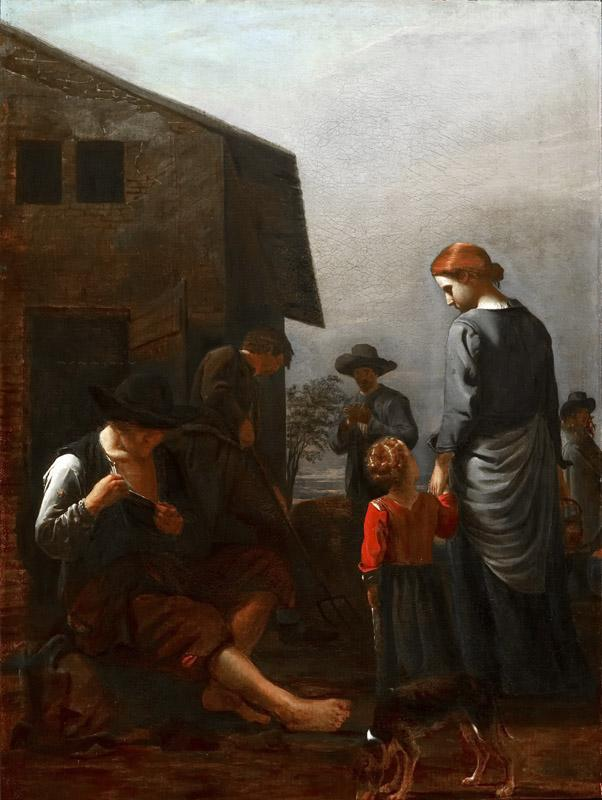Michael Sweerts - Peasant Family, with a Man Removing Fleas from Himself