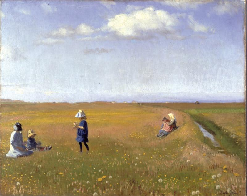 Michael Ancher - Children and young girls picking flowers in a field north of Skagen