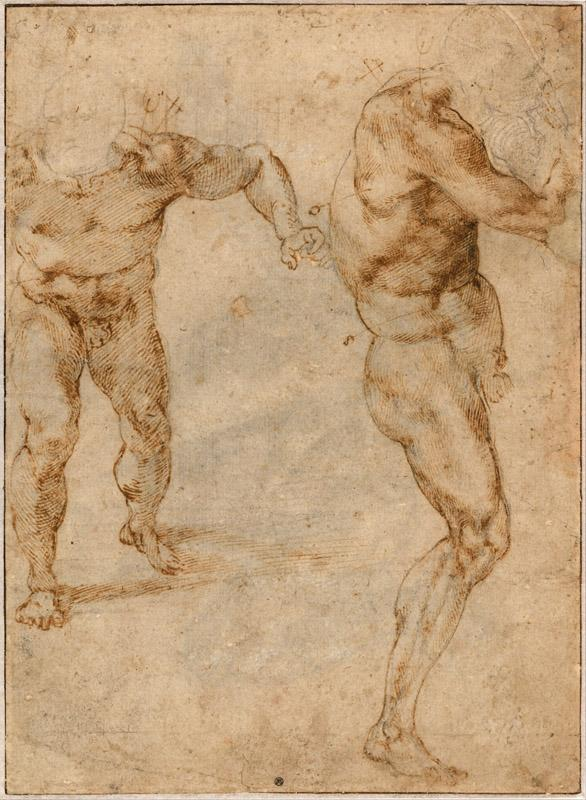 Michelangelo Buonarroti (1475-1564)-Two Nude Studies of a Man St