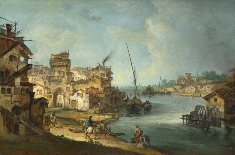 Michele Marieschi - Buildings and Figures near a River with Shipping
