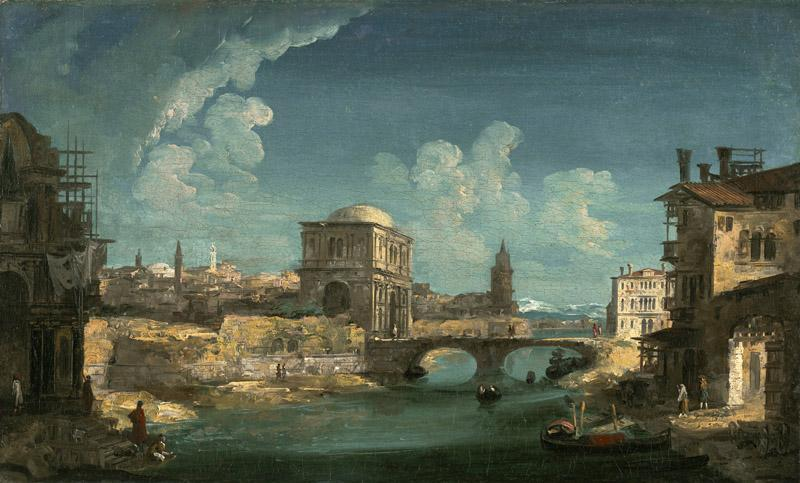 Michele Marieschi - Capriccio with Buildings on a River by a Bridge, 1730-1735