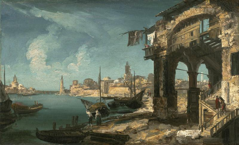 Michele Marieschi - Capriccio with a Portico and a City Beyond, 1730-1735