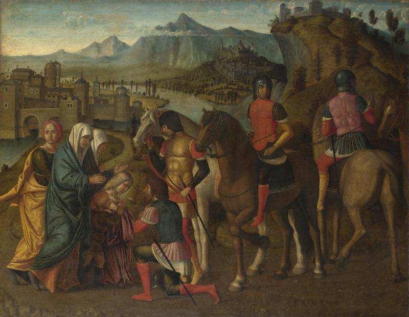 Michele da Verona - Coriolanus persuaded by his Family to spare Rome
