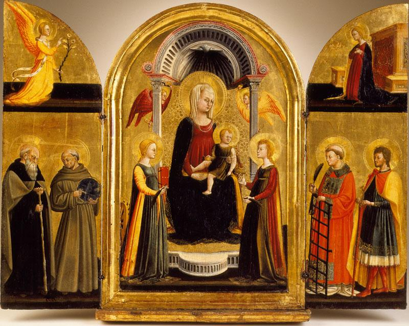 Neri Di Bicci - Triptych of the Madonna and Child with Saints