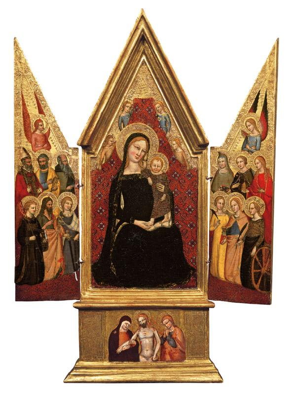 Niccolo di Tommaso - Madonna and Child Enthroned with Angels, Twelve Saints and a Pieta, c. 1370-