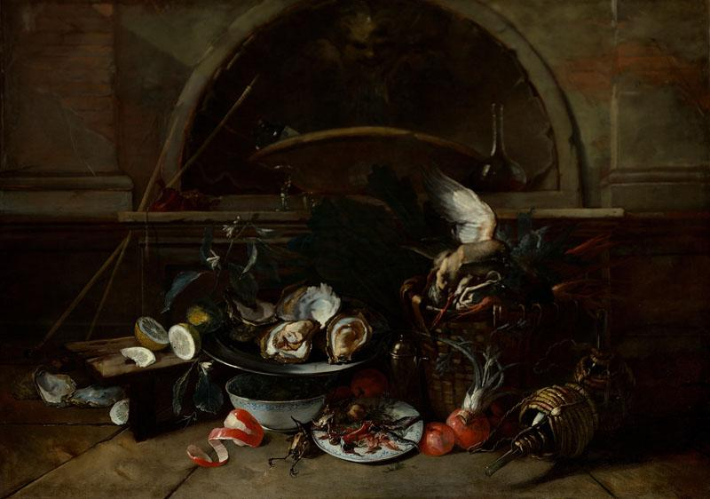 Nicola van Houbraken - Still Life with Bottles and Oysters