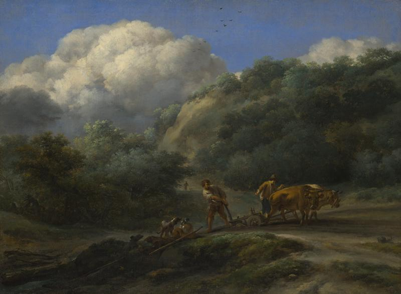 Nicolaes Berchem - A Man and a Youth ploughing with Oxen