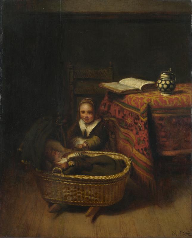 Nicolaes Maes - A Little Girl rocking a Cradle