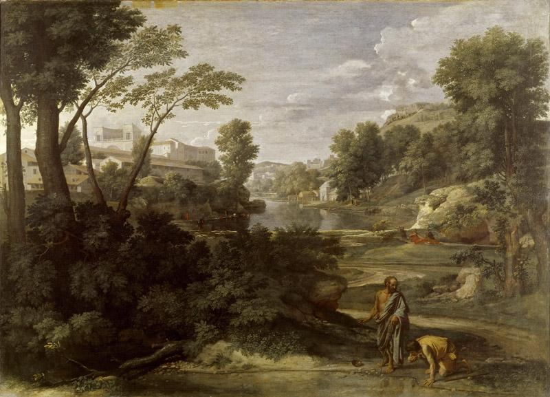 Nicolas Poussin -- Landscape with Diogenes Renouncing His Bowl