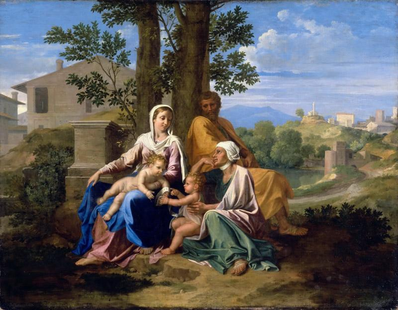 Nicolas Poussin -- The Holy Family with Saint John and Saint Elizabeth in a landscape