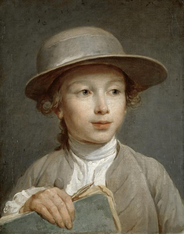 Nicolas-Bernard Lepicie - Portrait of a Boy with a Drawing Book