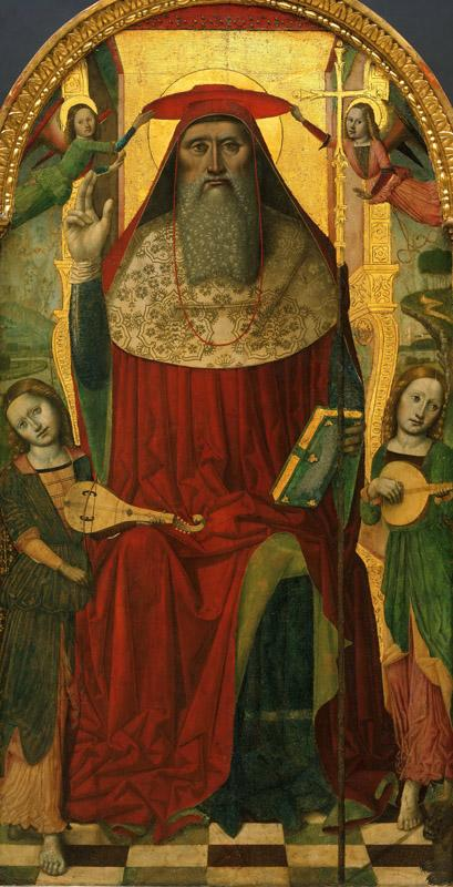 Nicolo Corso (Nicolo di Lombarduccio da Pieve di Vico), Italian (active Liguria), documented 1469-1503 -- Enthroned Saint Jerome, with Angels