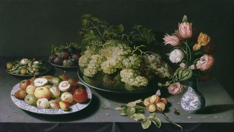 Osias Beert - Still life with apples, grapes and a vase of flowers, 16001620