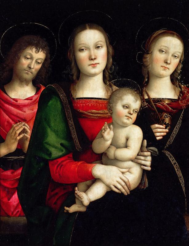 PERUGINO, Pietro -- Virgin and Child between Sts John the Baptist and Catherine